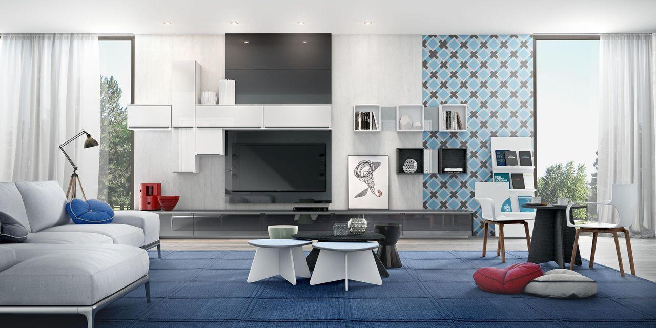 Na parede onde vai a TV é possível montar uma composição com painel, gavetas, nichos e armários