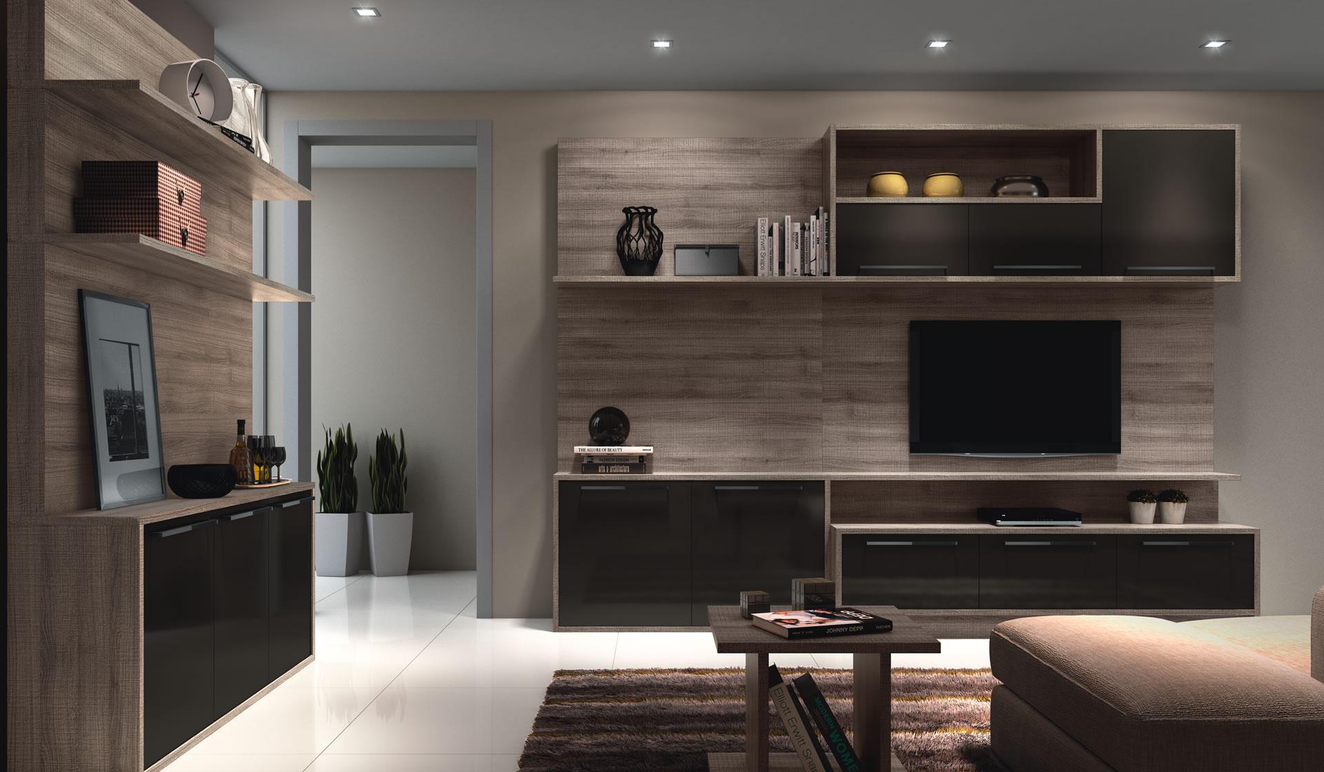 Sala planejada com móveis escuros
