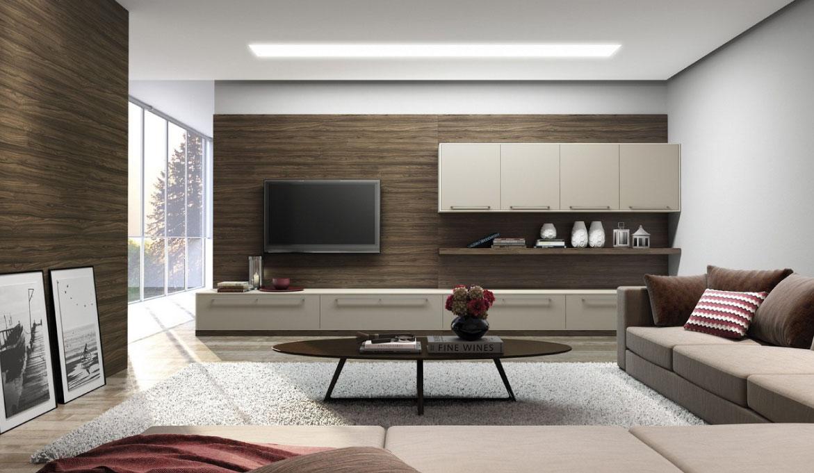 Os tons neutros predominam nessa sala para criar o ar moderno