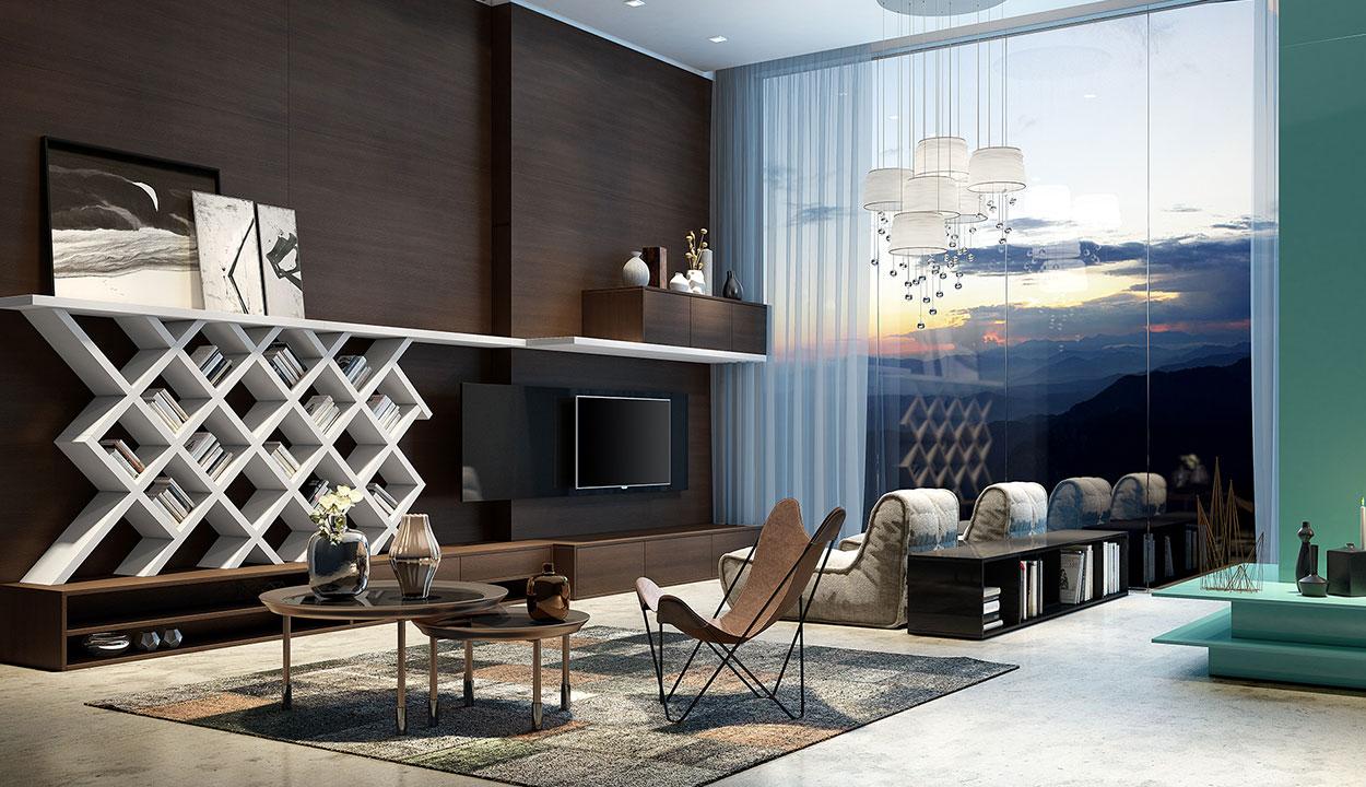 Cobrir toda a extensão da parede deixa a sala mais elegante