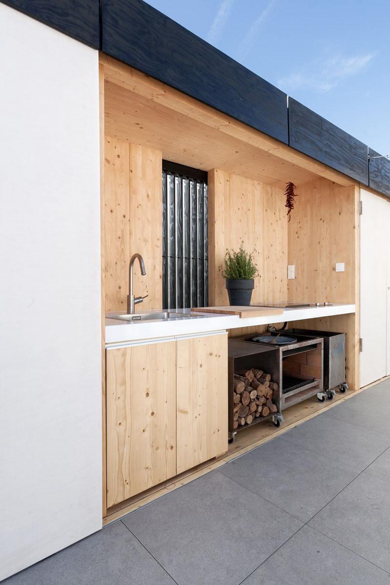 Projeto de cozinha externa com estilo minimalista