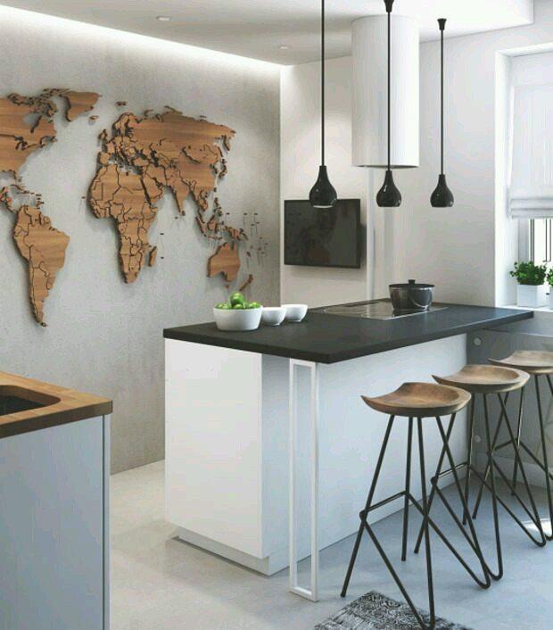 Crie uma decoração inspiradora para sua cozinha americana pequena.