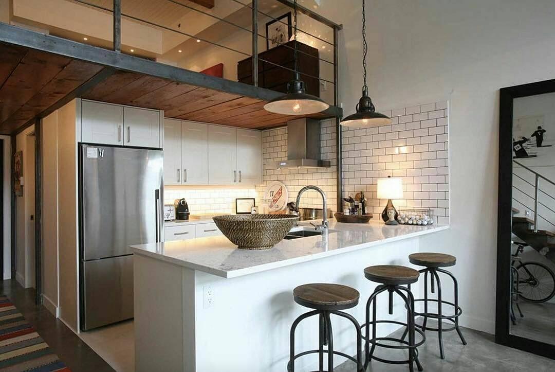 Cozinha americana pequena para loft.