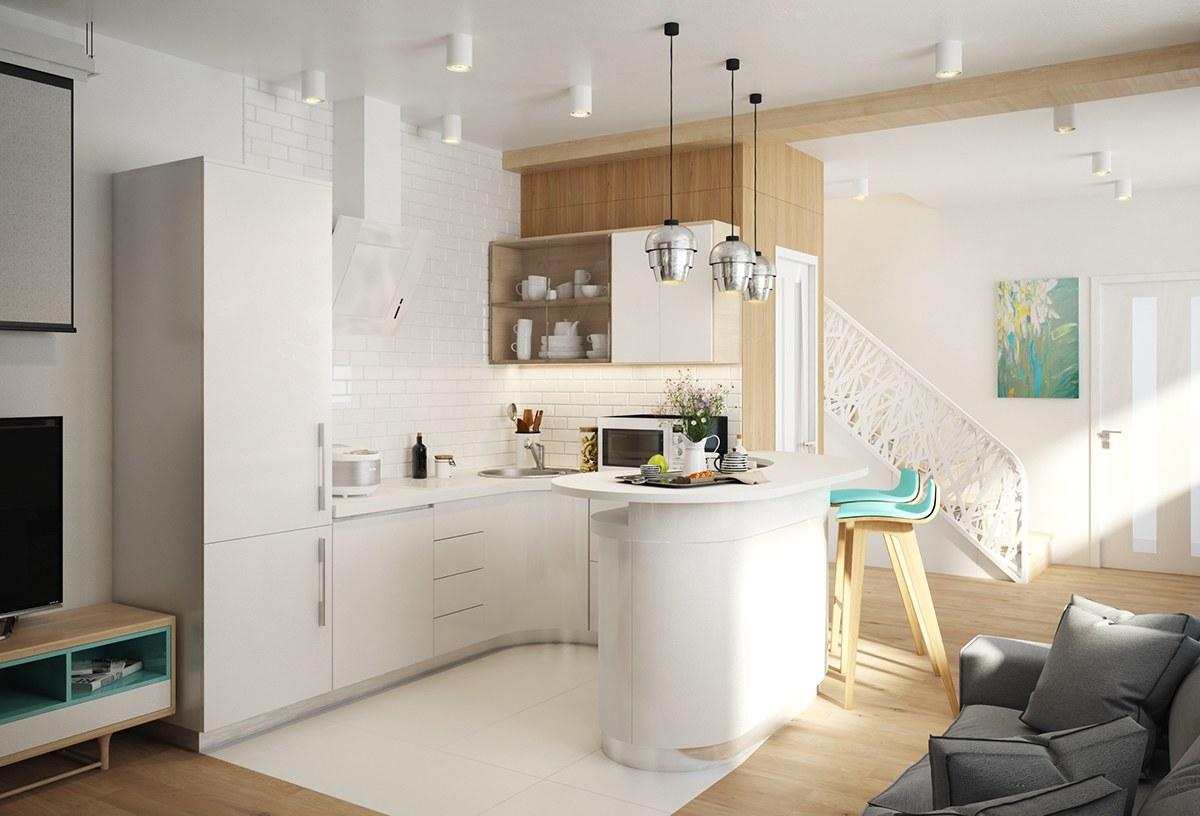 O acabamento curvilíneo deu mais aconchego para o layout da cozinha.