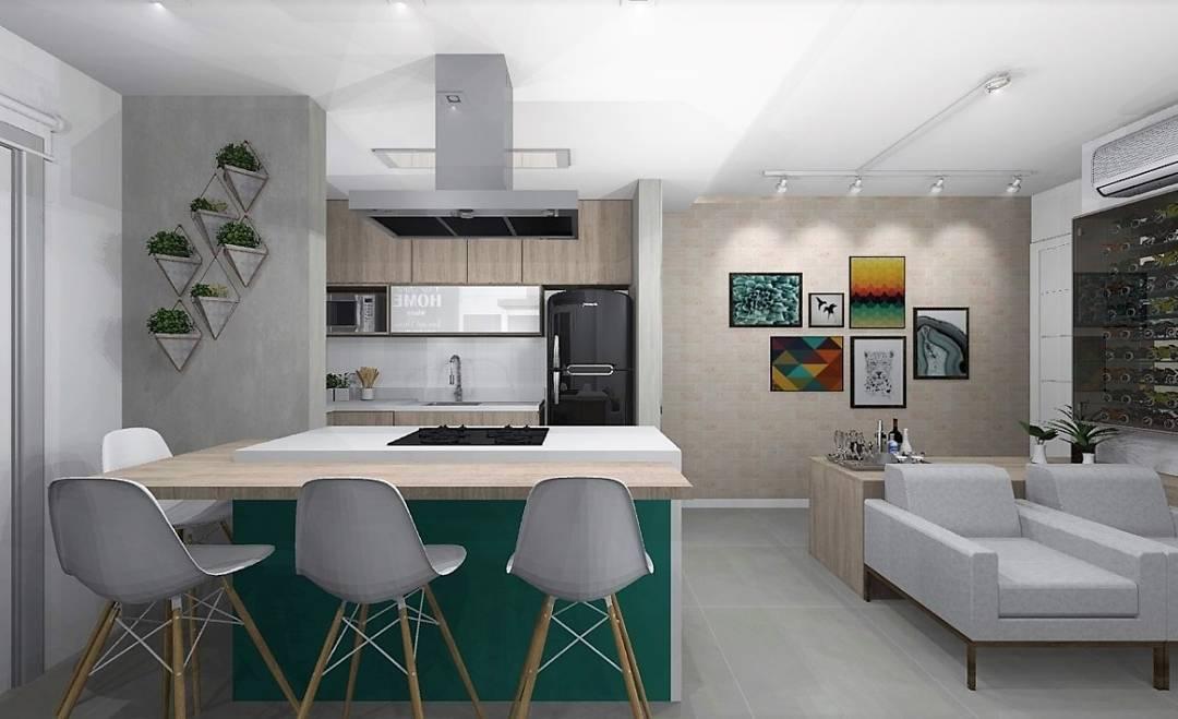 A bancada americana permite ampliar a a área da cozinha.