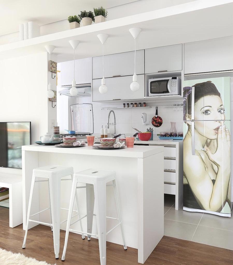 Mesmo pequena, a cozinha pode esbanjar muito charme.