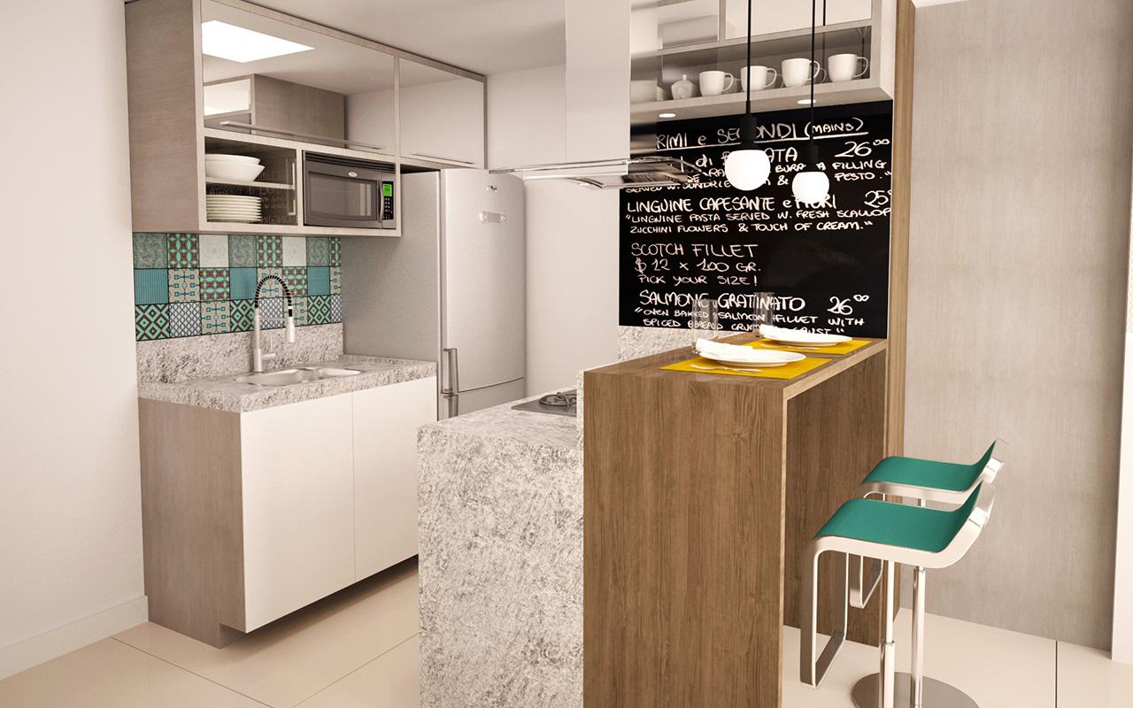 A cozinha americana pequena foi muito bem planejada para integrar com o restante do ambiente.
