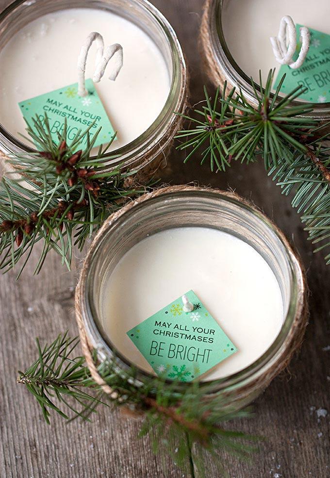 Velas de Natal com material reciclado