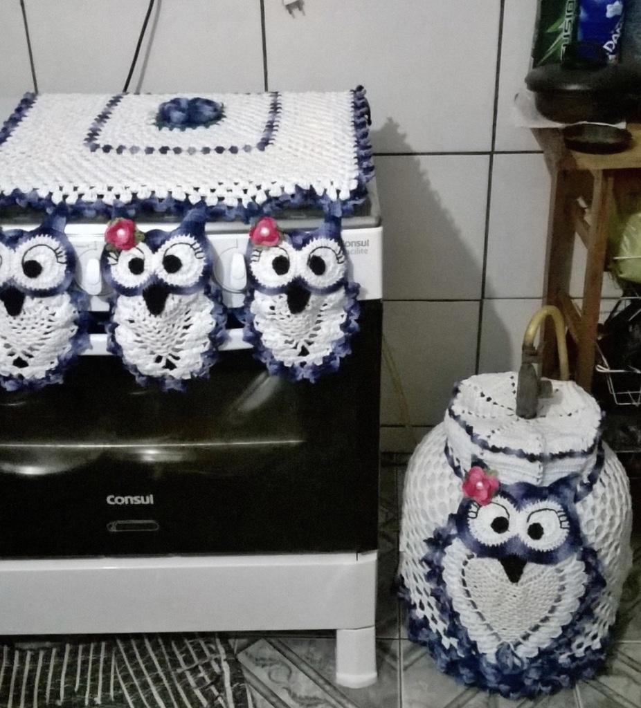Jogo De Cozinha De Croch 63 Fotos Gr Ficos E Passo A Passo -> Tapete De Tecido Para Cozinha
