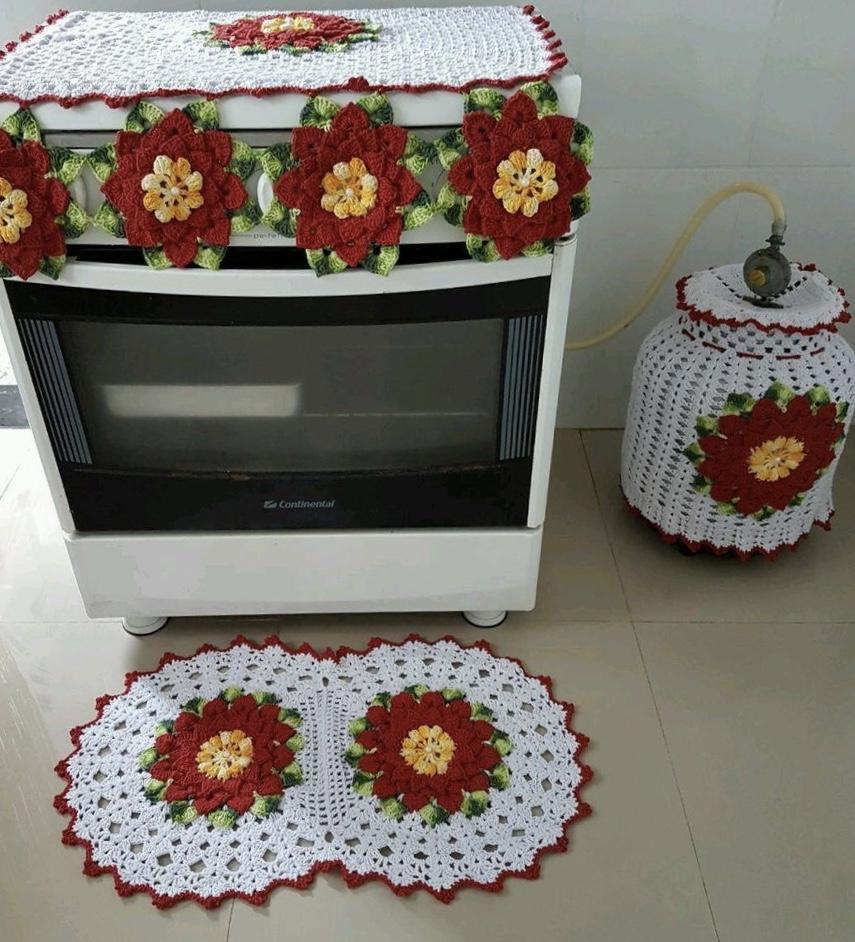 Jogo De Cozinha De Croch 63 Fotos Gr Ficos E Passo A Passo ~ Como Fazer Conjunto De Cozinha