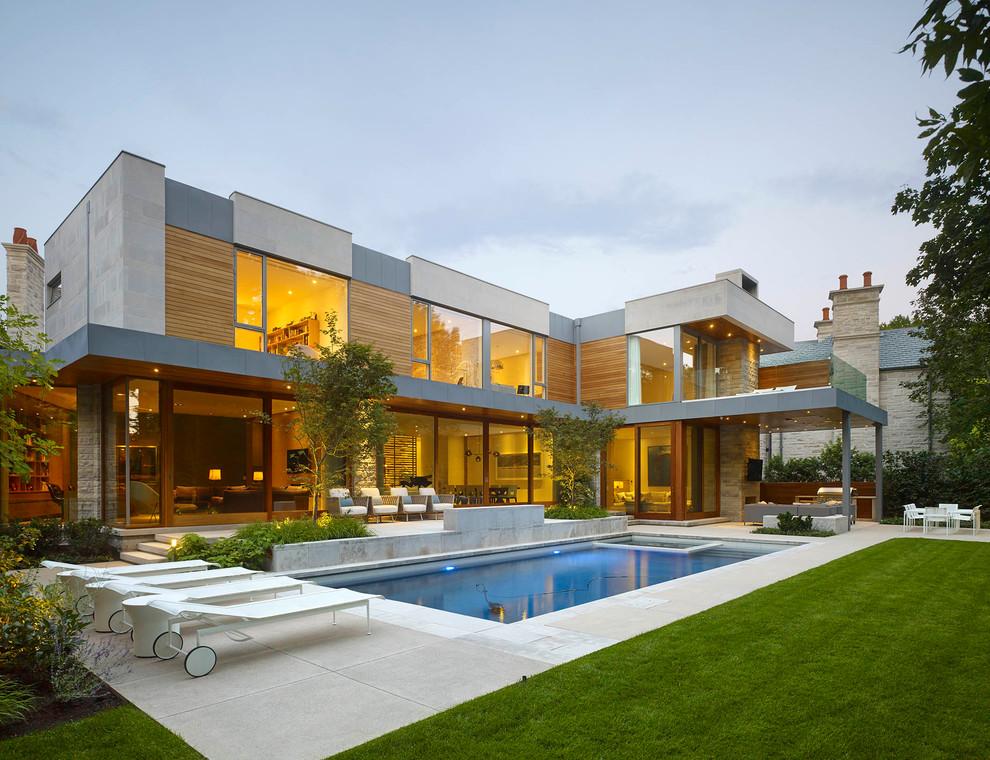 Casas em l 63 projetos com plantas e fotos para se inspirar for Casa moderna 4 ambientes