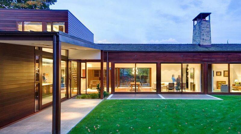 Casas em L: 63 projetos com plantas e fotos