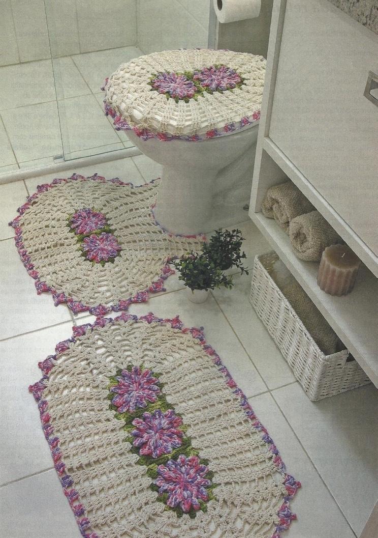 Jogo De Banheiro Classic Rosa Passo A Passo : Jogo de banheiro em barbante barroco passo a