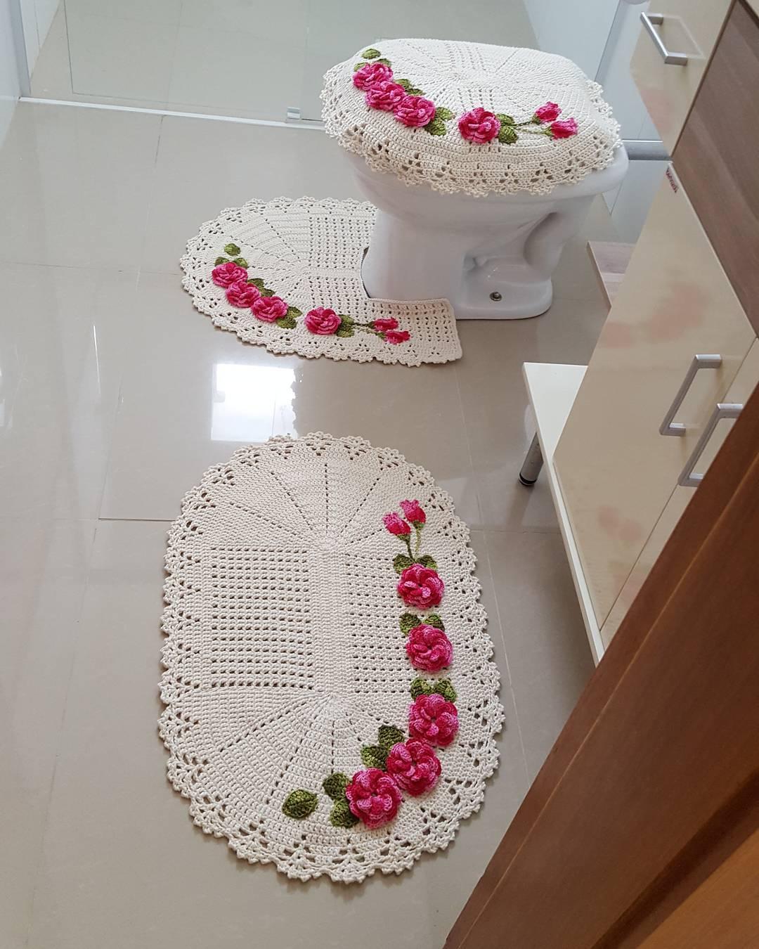 Jogo De Banheiro De Croch 60 Fotos Ideias E Passo A Passo -> Fotos De Tapete De Croche