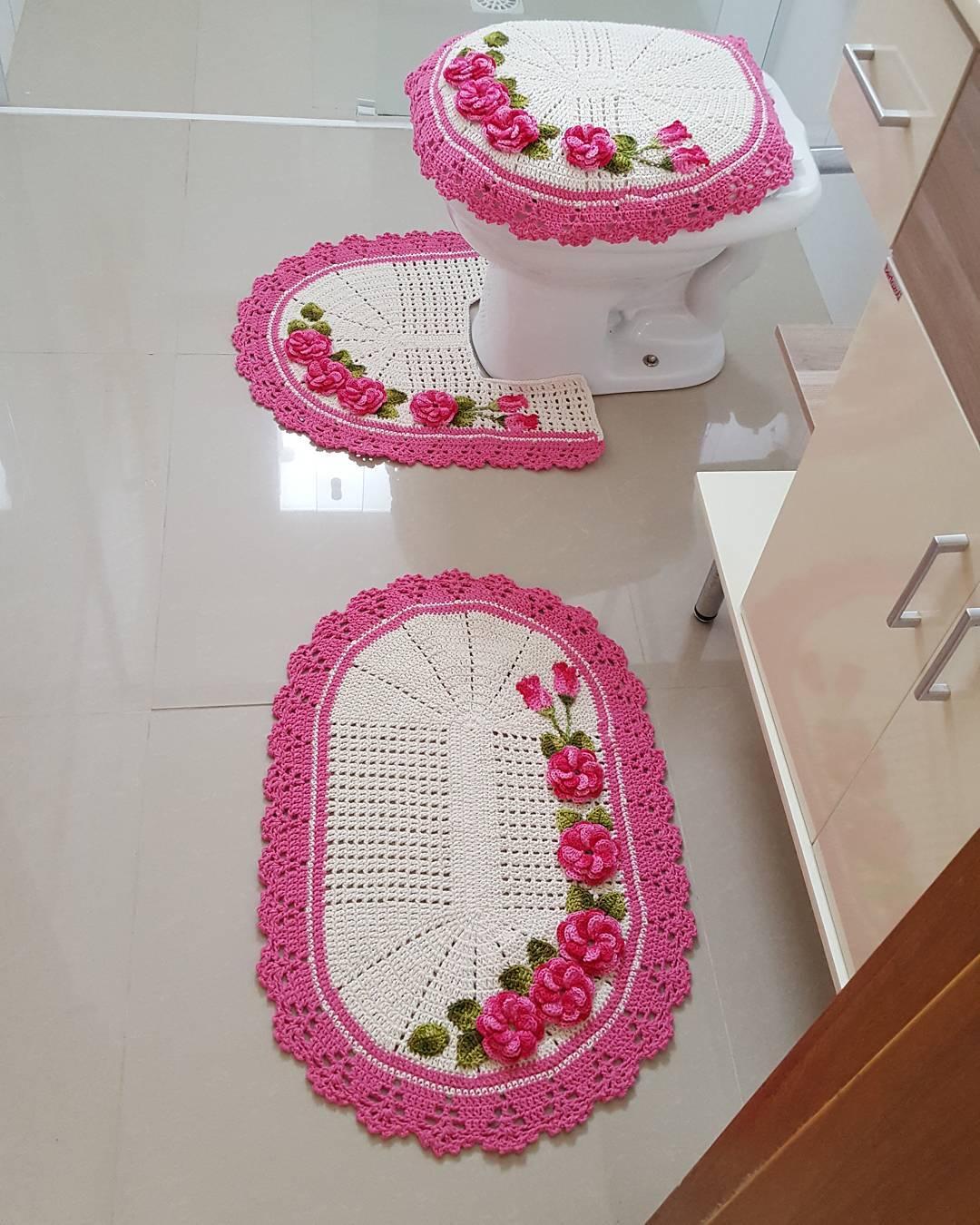 Jogo De Banheiro Classic Rosa Passo A Passo : Jogo de banheiro croch? fotos ideias e passo a