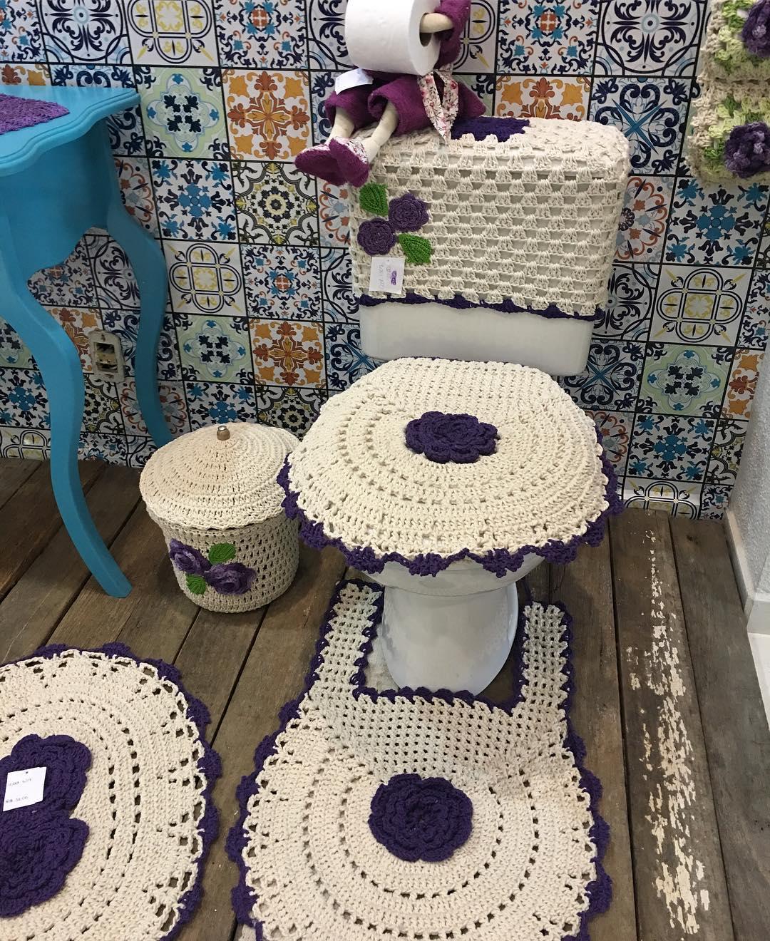 Jogo De Banheiro Completo : Jogo de banheiro croch? fotos ideias e passo a