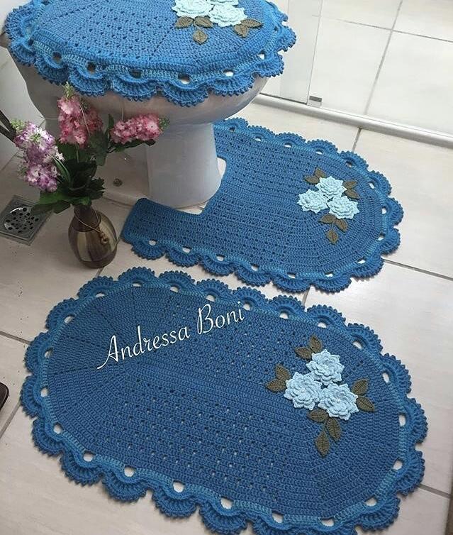 Jogo De Banheiro Azul Em Croche : Jogo de banheiro croch? fotos ideias e passo a