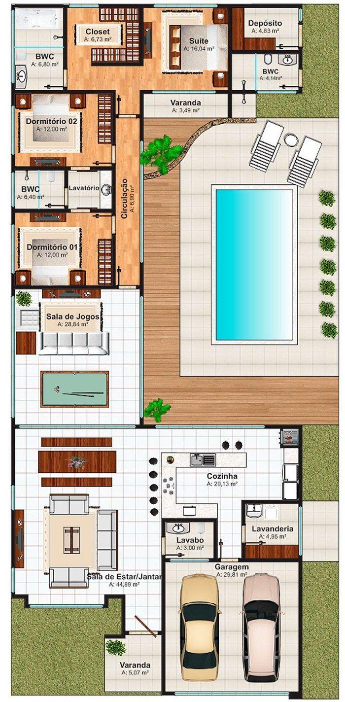Casas em l 63 projetos com plantas e fotos para se inspirar for Plantas para piscinas