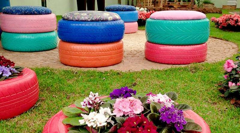 Puff de pneu: 60 ideias, fotos e passo a passo prático