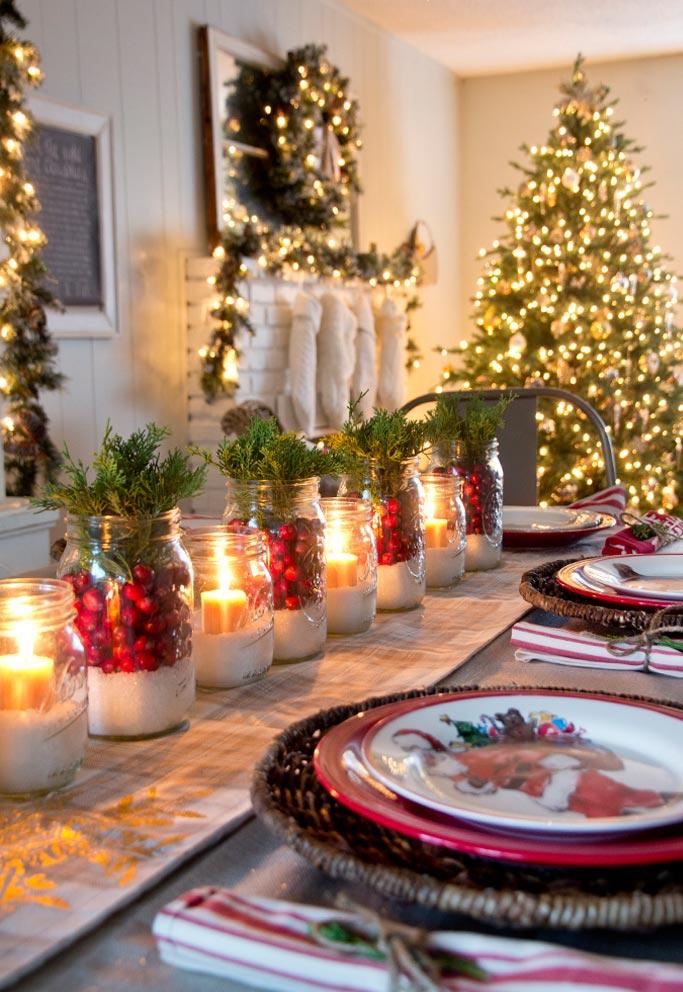 Enfeites com velas para mesa