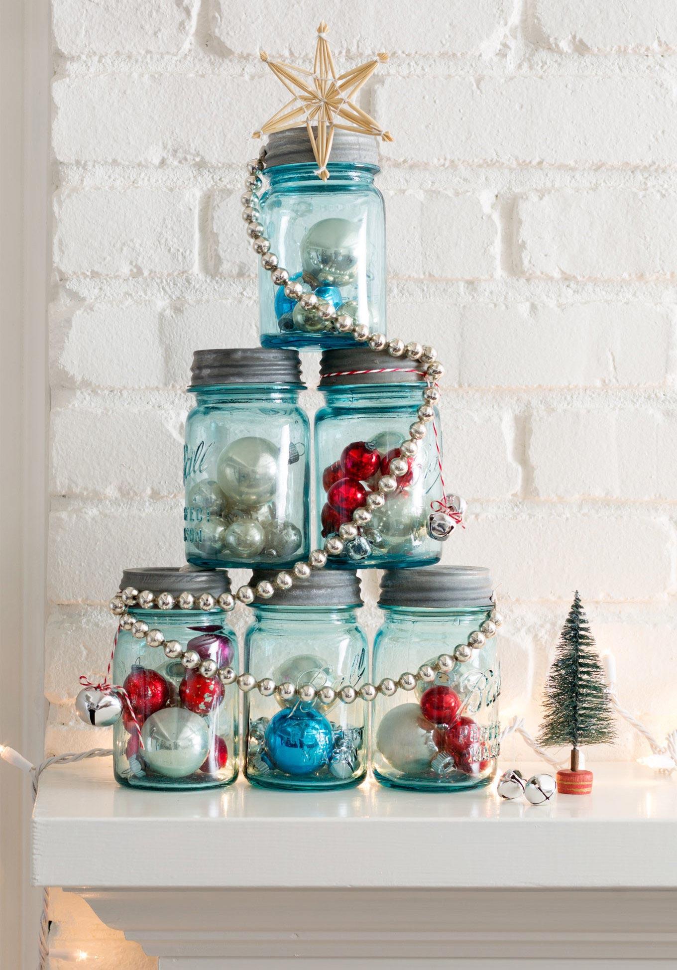 Enfeites de Natal em potes de vidro