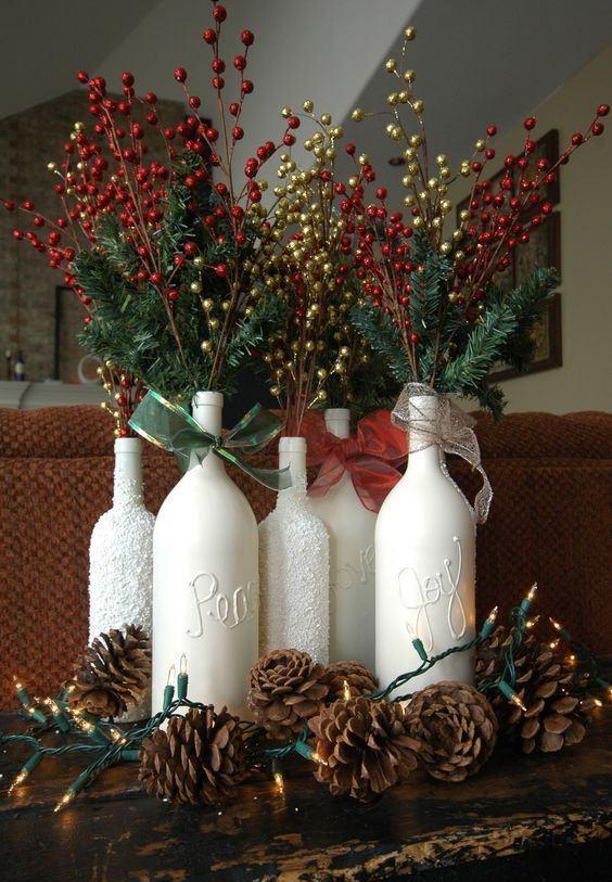 Enfeites de Natal com garrafas de vidro