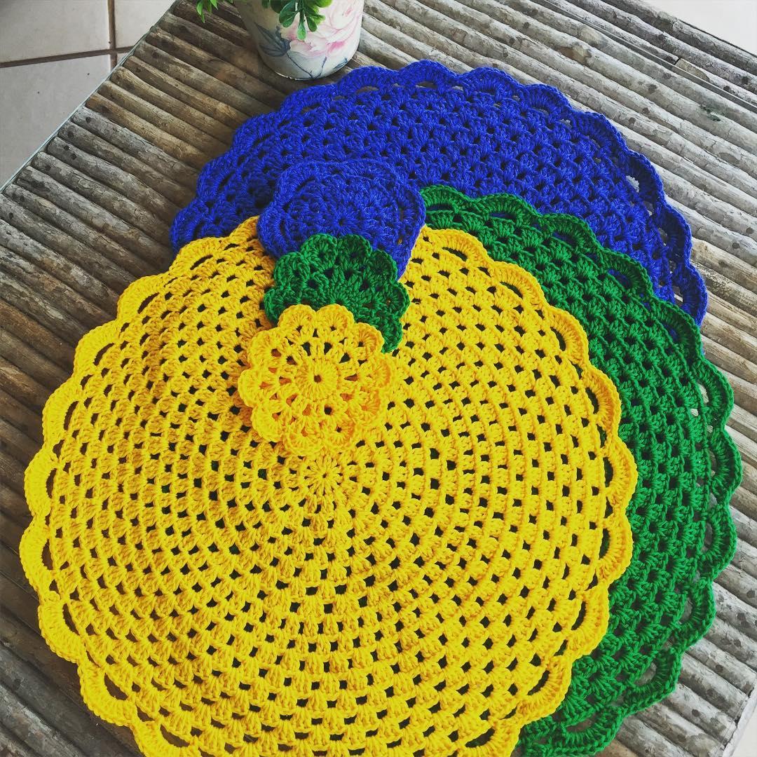Sousplat De Croch 65 Modelos Fotos E Passo A Passo -> Tapete De Croche Redondo Passo A Passo