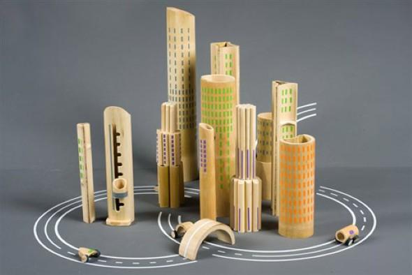 Monte sua cidade estilo Lego com peças esculpidas de bambu