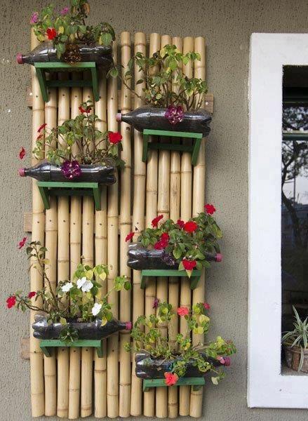 Jardim vertical de bambu