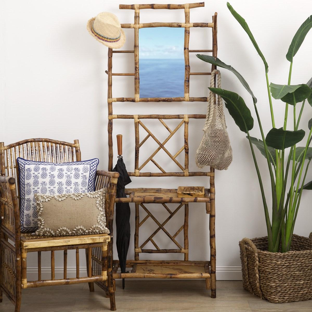Conjunto de poltrona e estante em bambu para o hall de entrada