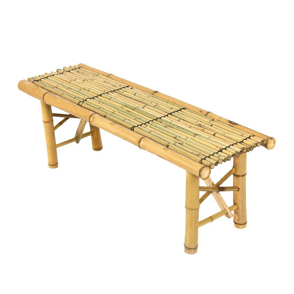Banco longo simples de bambu