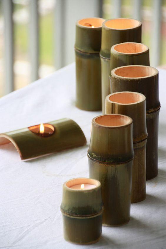 Porta velas de bambu