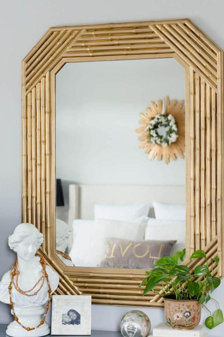 Moldura de espelho de bambu