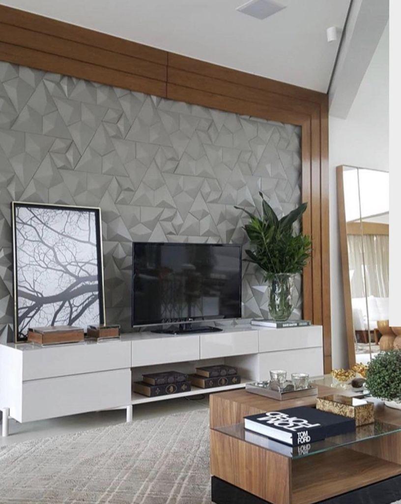 Revestimento 3d 60 Ideias Impressionantes Na Decora O -> Painel De Sala Com Ceramica
