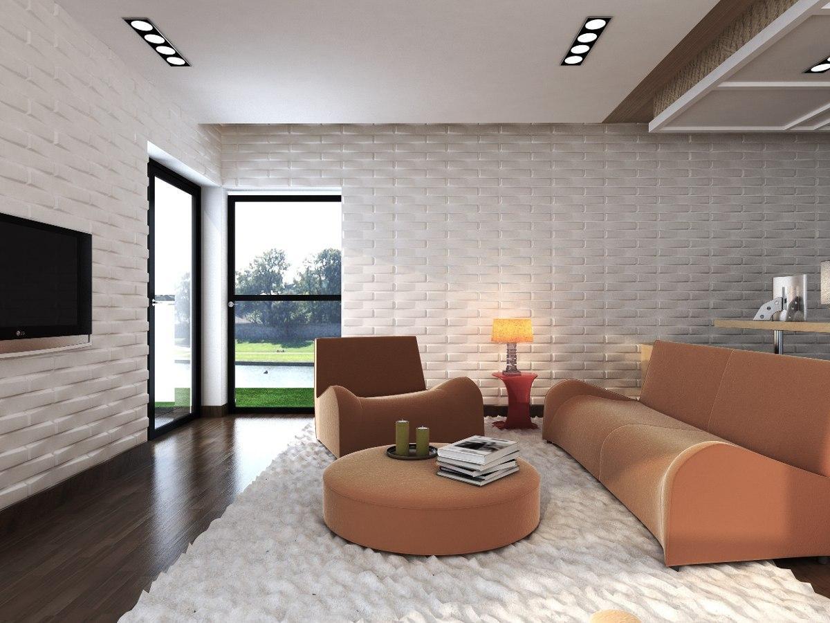 Revestimento 3d 60 ideias impressionantes na decora o for Revestimento 3d sala de estar