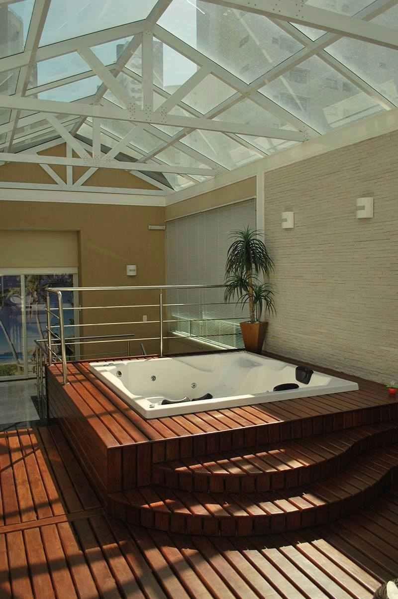 Terraço com telhado de vidro