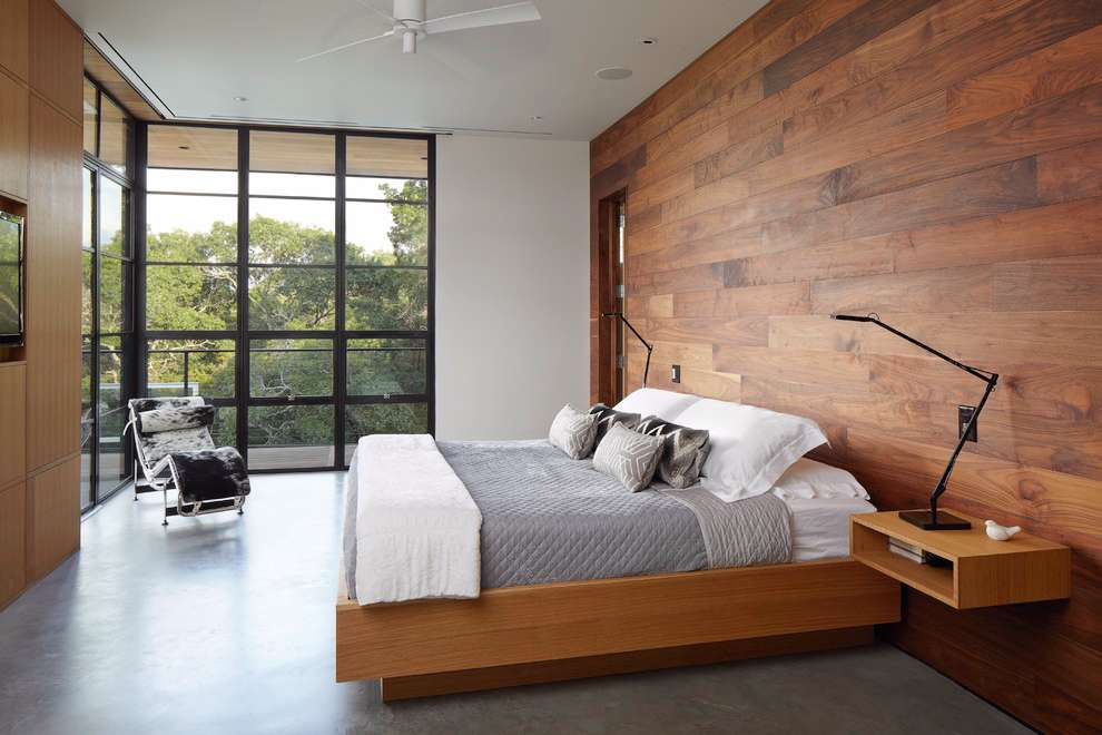 Parede de madeira para quarto de casal.