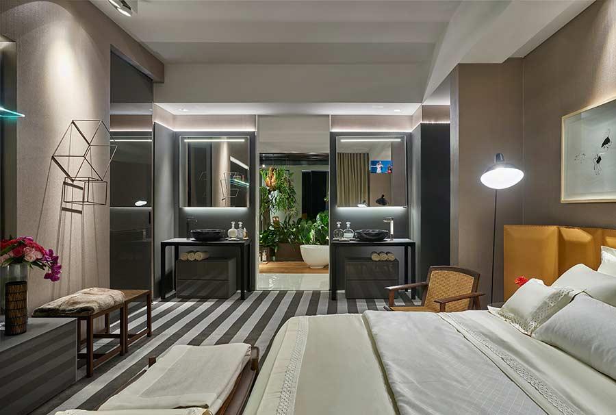 Projeto de quarto com lavabo
