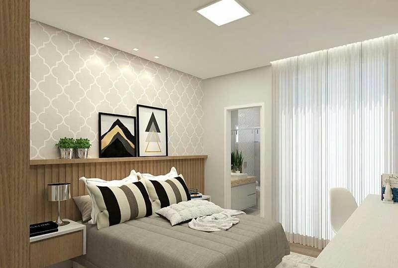 Quarto de casal moderno 60 ideias fotos e projetos for Quadros dormitorio