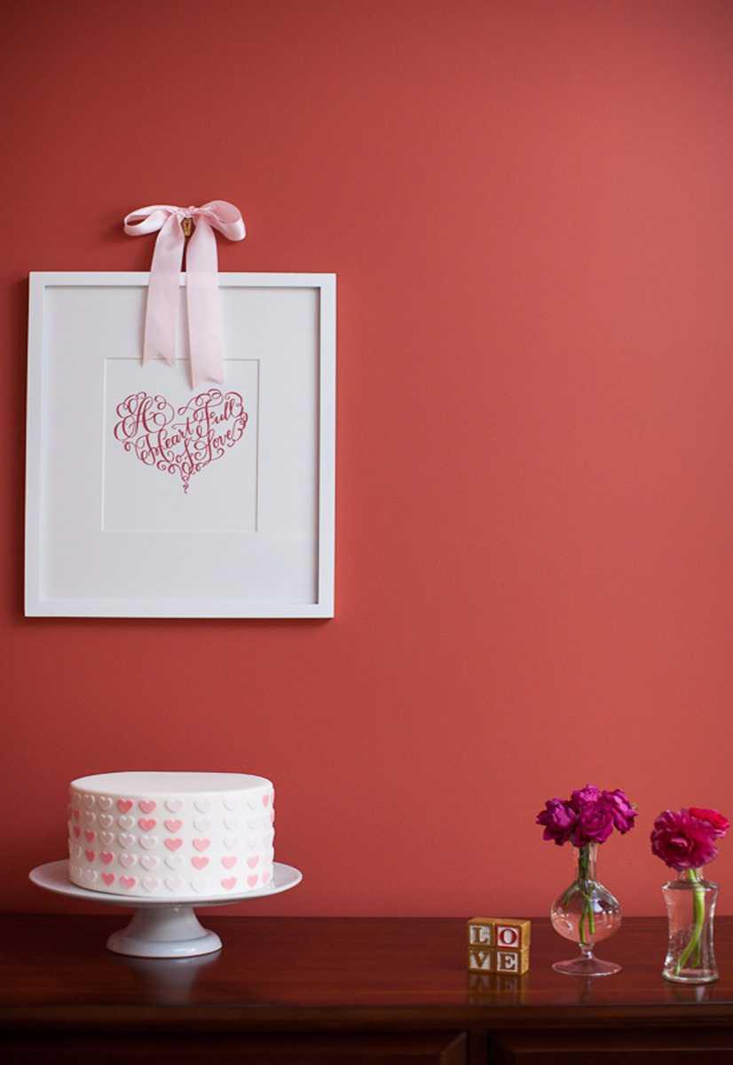 Coração como símbolo de amor na decoração do bolo