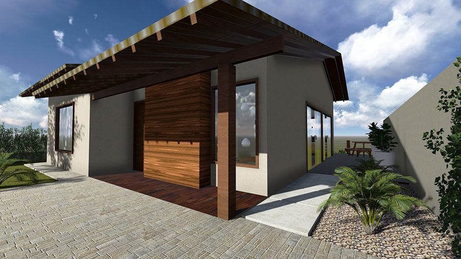 Modelo de casa terrea com estilo colonial