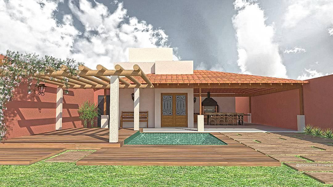 Modelo de casa colonial com piscina