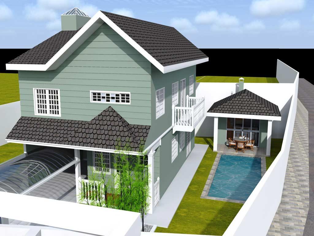 Casa no estilo colonial com puxadinho para a piscina