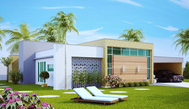 Projeto 3D de casa térrea grande.