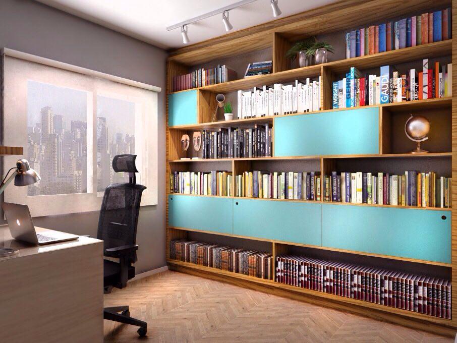 Cor azul turquesa na decoração do home office
