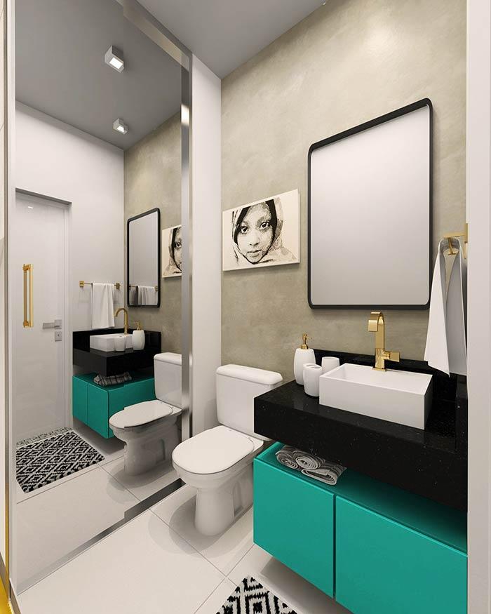 Gabinete de banheiro com a cor na decoração