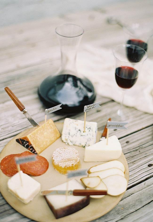 Sinalização de cada queijo