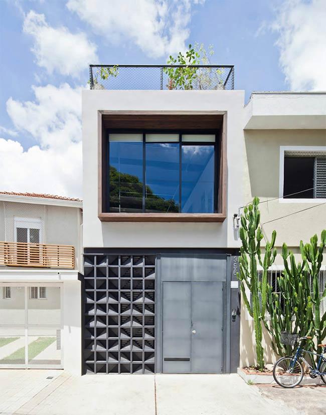 Contraste de materiais na fachada