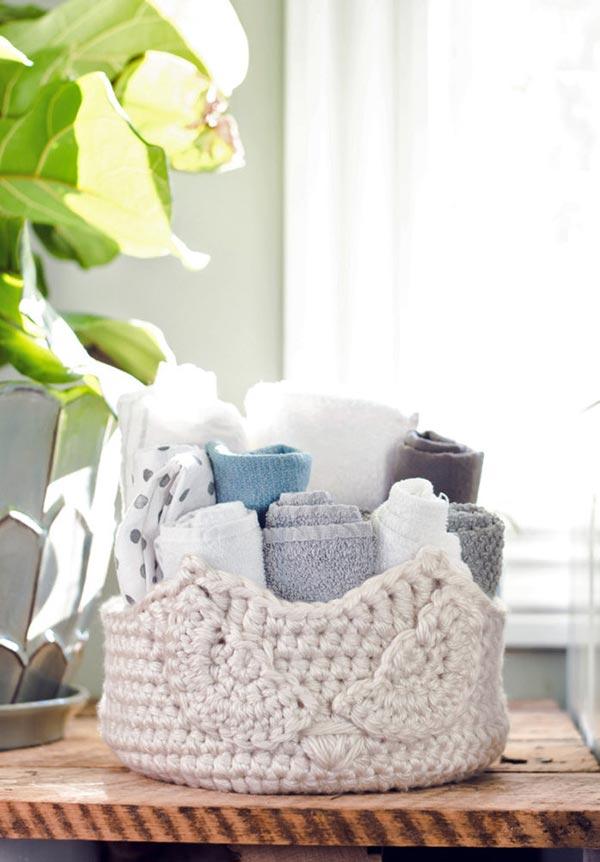 Organizador com formato de crochê
