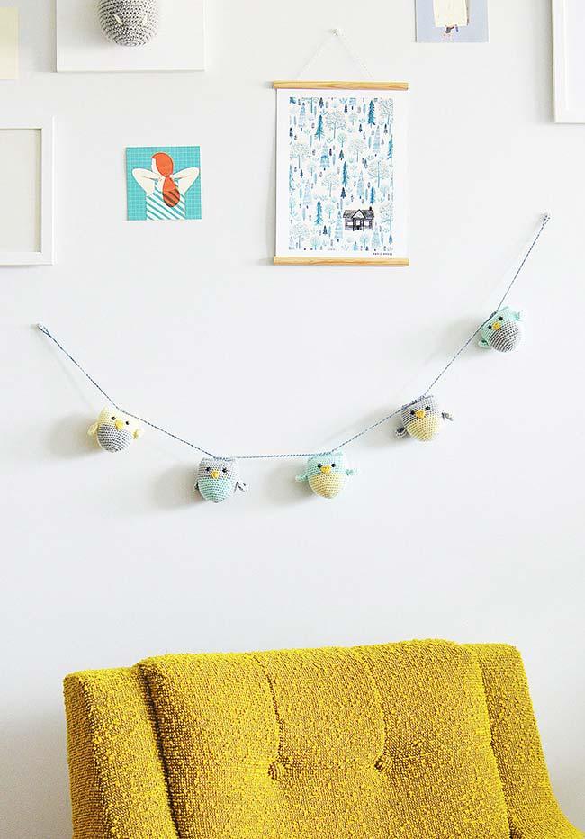 Varal das corujinhas para decorar a parede